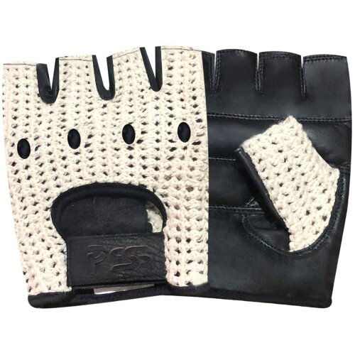 Real COW Hide Leather Finger less Off White Mesh Net Bus, Driving, Cycling, Training, Wheelchair and Gardening Gloves Model 416