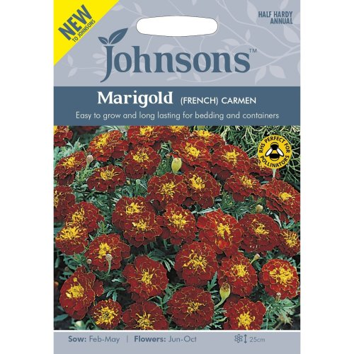 Johnsons Seeds - Pictorial Pack - Flower - Marigold (French) Carmen - 60 Seeds