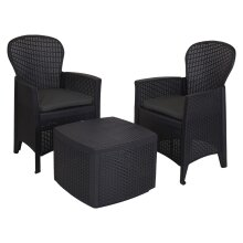 idooka - Small Tea for Two Bistro Set-  Round Backed 2x Chair & Table Patio Set for Balcony, Conservatory or Garden with Cushions - Durable, Compact