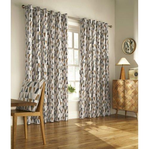 Furn Reno Ringtop Geometric Eyelet Curtains
