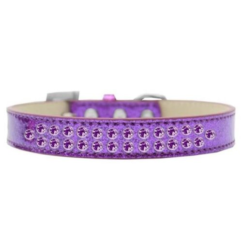 Mirage Pet Products614-09 PR-20 Two Row Purple Crystal Dog Collar, Purple Ice Cream - Size 20