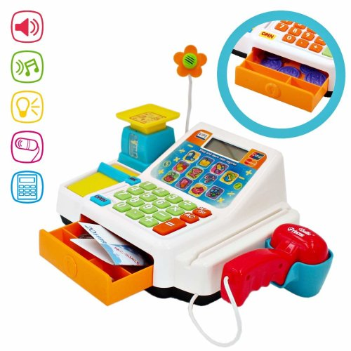 deAO Early Education Kids Electronic Cash Register Toy Till with Working Scan And Microphone