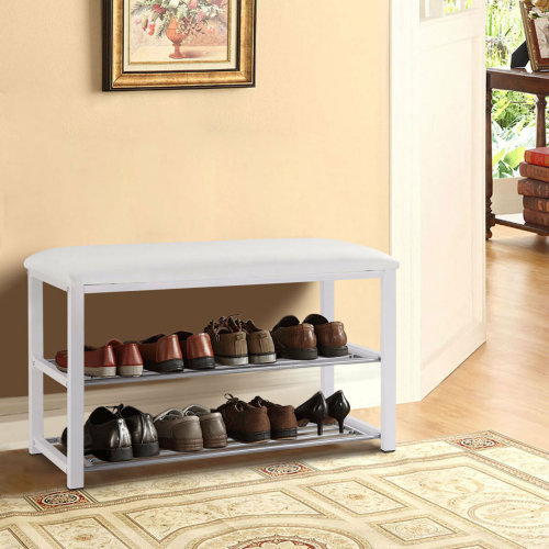 3-Tier Hallway Bench Shoe Rack Stand Organiser With Upholstered Seat