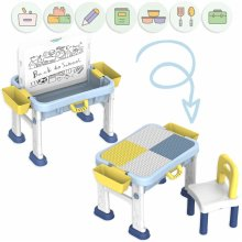 deAO Multi-Purpose Building Block and Converting White Board Activity Table, Chair and Toy Storage for Kids