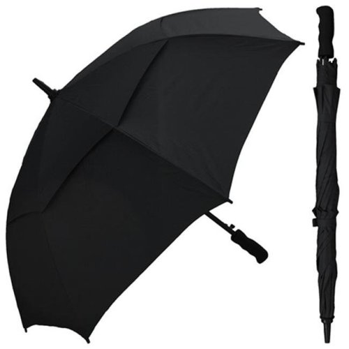 RainStoppers W016BLACK 48 in. Black Wind Buster Fiberglass Frame Umbrella with Grip Handle, 6 Piece
