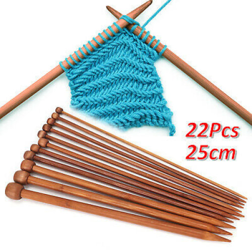High Quality 22pcs Pointed Bamboo Knitting Needles 3mm - 10mm
