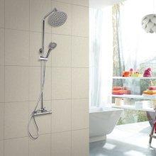 Shower Mixer Thermostatic Set Twin Head Chrome Valve Round Bathroom
