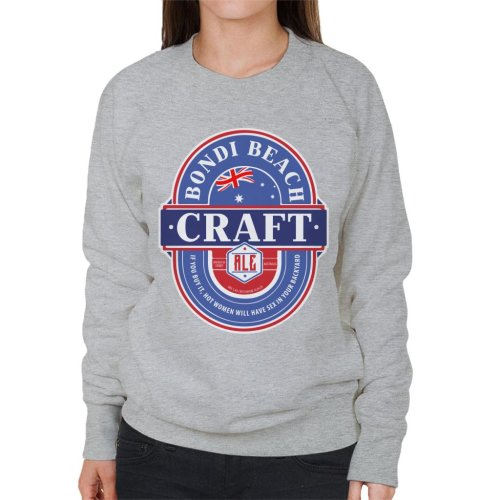 (XX-Large, Heather Grey) Bondi Beach Craft Ale Women's Sweatshirt