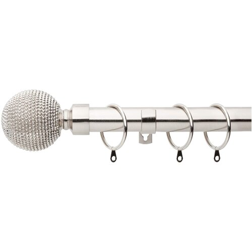 A.Unique Home Beaded Ball Metal Extendable Curtain Pole with Rings and Fittings, In a Variety of Colours and Sizes