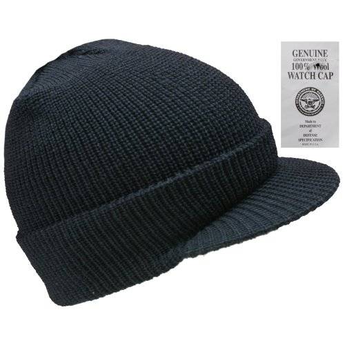 (Black) New Peaked 100% Wool Hat Us Army Watch Cap Beanie