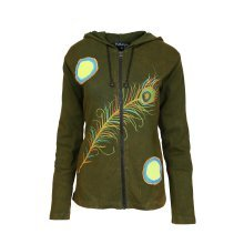 Ladies Multicoloured Cotton Jacket With Hood ,Side Pocket & Peacock Feather Design.