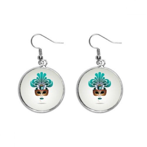 Cyan Mask Happy Carnival Of Venice Ear Dangle Silver Drop Earring Jewelry Woman