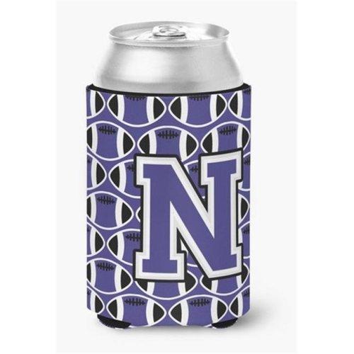 Letter N Football Purple & White Can or Bottle Hugger