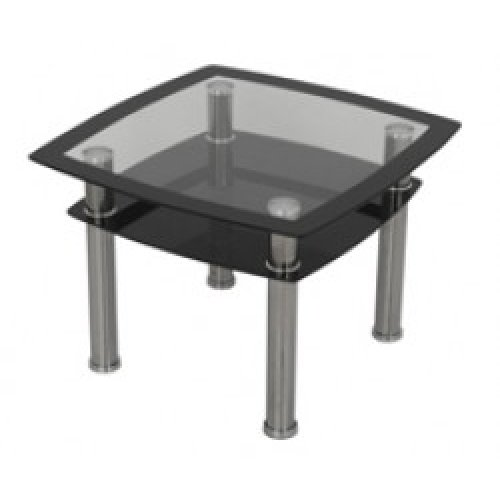 Modern Black Glass Lamp, End or Side Table with Lower Suspended Black Glass Storage Shelf