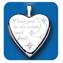 I Love You To The Moon & Back Silver Locket 925 Hallmark All Chain Lengths
