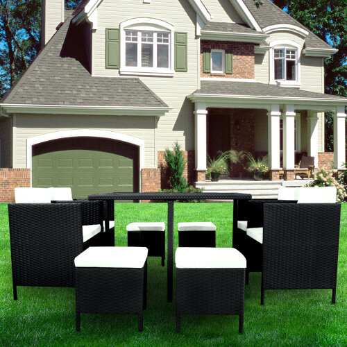 (Black) 8 Seater Rattan Garden Furniture Set Dining Table