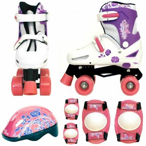 Girls Pink White Quad Skates Padded Kids Roller Boots Safety Pads Helmet Set New[Large 3-6 (35-38 EU)]
