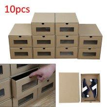 10 Foldable Cardboard Shoe Boxes Organiser Drawer Stackable Storage