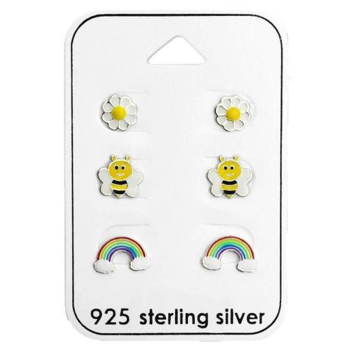 Children's Sterling Silver Garden Stud Earrings Set