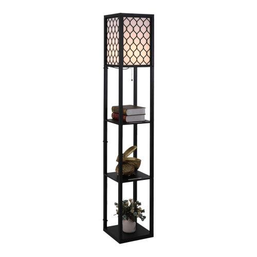 HOMCOM Modern Home Shelf hybrid FloorLamp| 4-tier Open Shelf Living Room soft glow Light