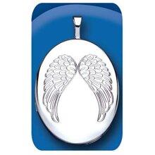 Angel Wings Oval Locket Sterling Silver 925 Hallmark All Chain Lengths