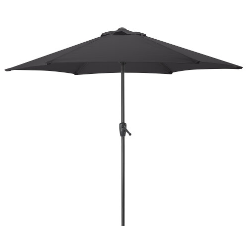 (Black) 2.7m Garden Parasol With Crank Handle   Steel Outdoor Umbrella