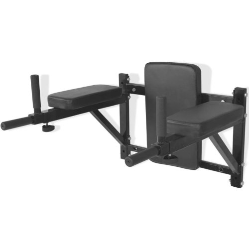 vidaXL Wall-mounted Fitness Dip Station Black Knee & Leg Raise Chin Up Rack