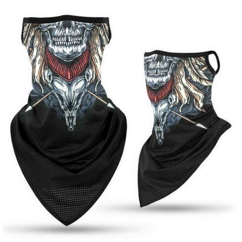 (Skull Spear (Strings)) Bandana Face Covering Mask Biker Tube Snood Scarf Neck Cover