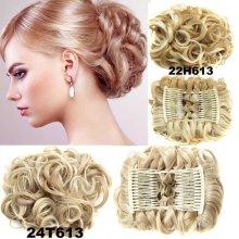 12 Colors Women Curly Chignon Plastic Comb Hair Extension Hairpiece wig Clip In Big Hair Bun Claws pin crown tiara Hair Headwear