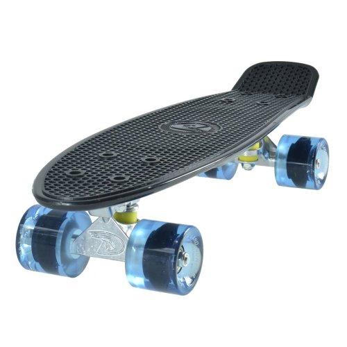 """Land Surfer Cruiser Skateboard 22"""" BLACK BOARD TRANSPARENT BLUE WHEELS"""