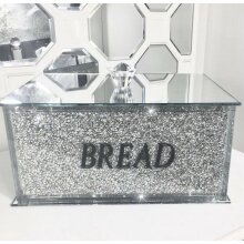 XL Silver Crushed Diamond Crystal Mirrored Bread Bin Container Kitchen