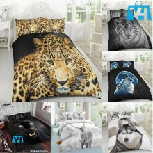 3D Animal Printed Wild Life Duvet Quilt Bedding Cover Set Pillow Cases Polyester