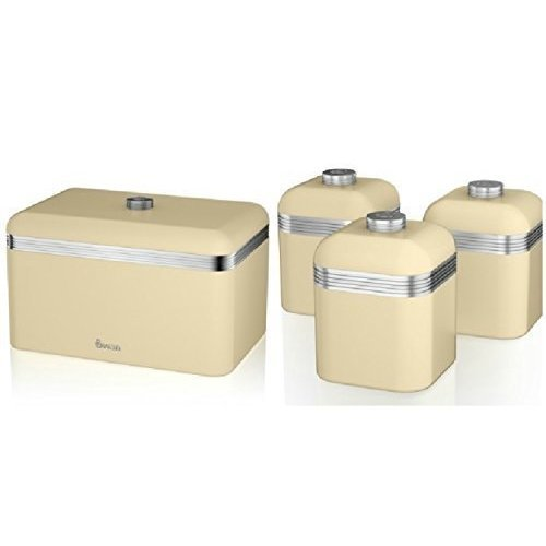 (Cream) 4pc Swan Retro Kitchen Storage Set