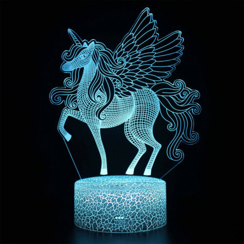 3D Unicorn Lamp Remote Touch Control LED Night Light Desk Decor Kids Xmas Gifts