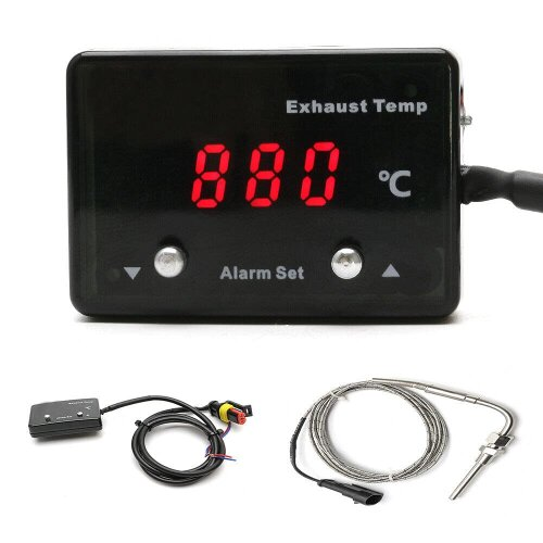 Car Modified Exhaust Temp Thermometer P-ETM-01 12V Digital Display with Sensor for Most 12V Automobile Cars Vehicles