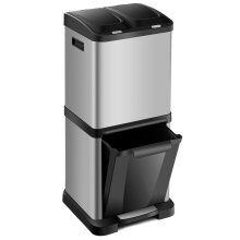 32L Compartment Kitchen Recycle Pedal Bin Steel Waste Step Trash Bin