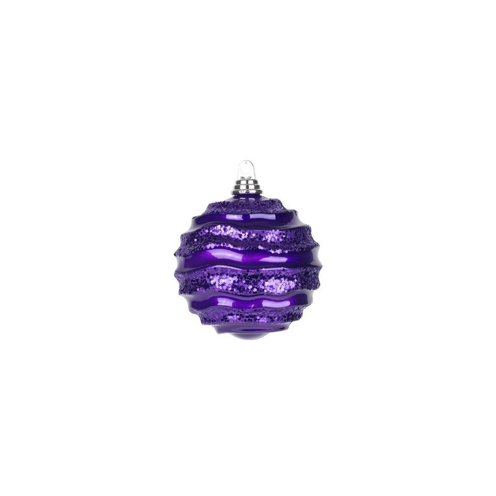 Vickerman M132126 Plum Candy Glitter Wave Ball Ornament 8 In On Onbuy