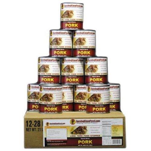 SurvivalCaveFood SCFMPK Canned Pork 14.5 oz - 12 cans