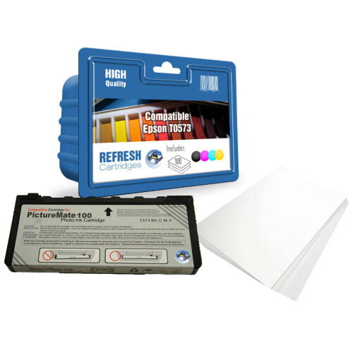 Compatible 100 (T573) Replacement for Epson Picturemate Printers + 100 Sheets 6x4 Photo Paper