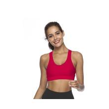 Women Back Phone Pocket Racerback Wireless Shockproof Sexy Bra Vest Red Xs