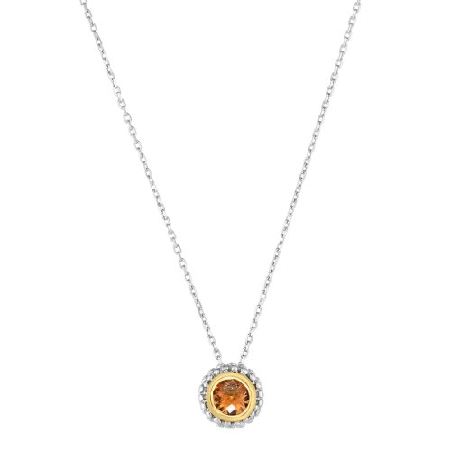 18k Gold And Sterling Silver Citrine Fancy Necklace
