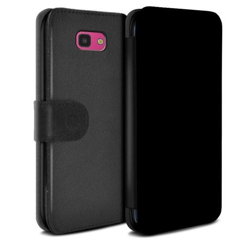 (Black) Colours Samsung Galaxy J4 Plus 2018 Phone Case Wallet Flip Faux PU Leather Cover for Samsung Galaxy J4 Plus 2018