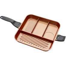 High Street TV QuadraPan Professional, 4-In-1 Non-Stick Divided Pan with Glass Lid Copper/Charcoal