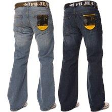 Mens Bootcut Loose Fit Wide Flare Leg Denim Jeans