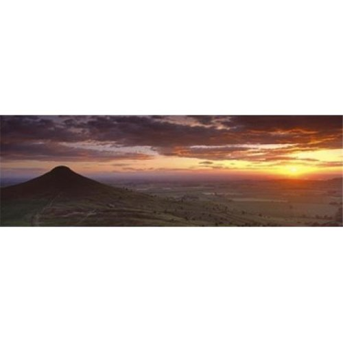 Silhouette Of A Hill At Sunset  Roseberry Topping  North Yorkshire  Cleveland  England  United Kingdom Poster Print by  - 36 x 12