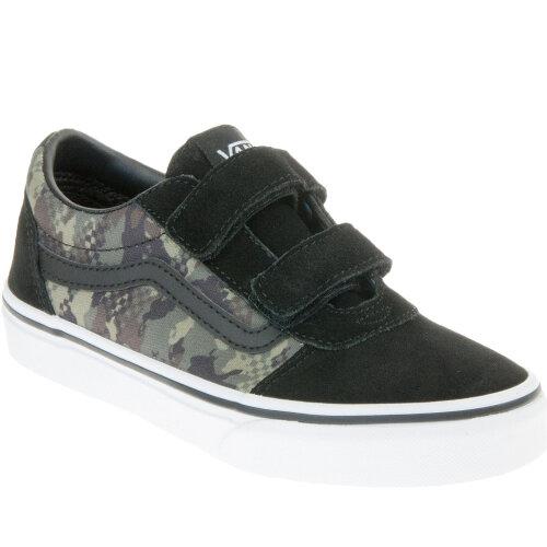 (2.5/3 UK, Camo) Vans Kids Boys Ward V Hook & Loop Suede Canvas Trainers Sneakers Shoes