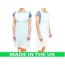 100pcs NHS Approved Spec Disposable Aprons Eco Flat Pack White
