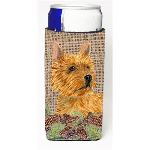 Norwich Terrier on Faux Burlap with Pine Cones Michelob Ultra bottle sleeves for slim cans 12 oz.