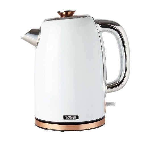 Tower Rose Gold T10023W Rapid Boil Kettle with Boil Dry Protection, Automatic Shut Off, Quiet, Stainless Steel, 3000 W, 1.7 Litre, White and Rose Gold