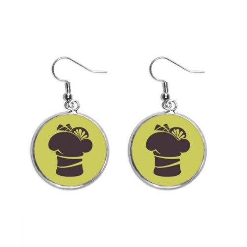 Black Lemon Ice Cream Silhouette Ear Dangle Silver Drop Earring Jewelry Woman